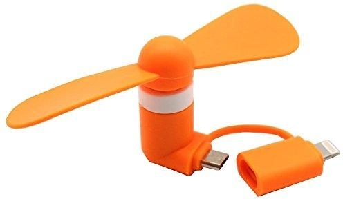 Mini Fan Lightning Micro-USB Oranje